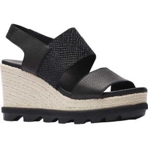 ソレル レディース サンダル シューズ Joanie II Slingback Jute Sandal Black Full Grain Leather