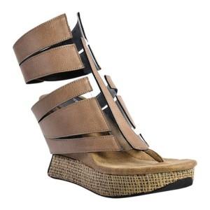 モッドゾリ レディース サンダル シューズ Arlette High Wedge Thong Sandal Taupe/Black Reversible