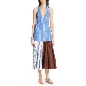 ティビ レディース ワンピース トップス Vivian Stripe Deep V-Neck Halter Dress BLUE/ WHITE STRIPE M