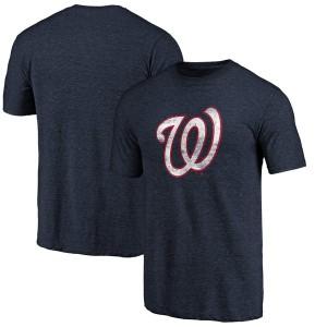 ファナティクス メンズ Tシャツ トップス Washington Nationals Fanatics Branded Weathered Official Logo TriBlend TShirt Heathered N