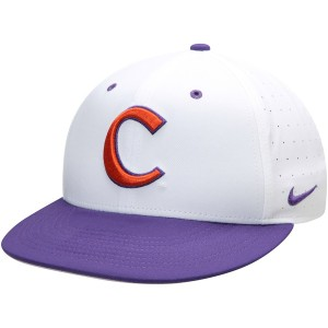 ナイキ メンズ 帽子 アクセサリー Clemson Tigers Nike Aerobill Performance True Fitted Hat White/Purple