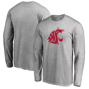 ファナティクス メンズ Tシャツ トップス Washington State Cougars Fanatics Branded Primary Logo Long Sleeve TShirt Ash