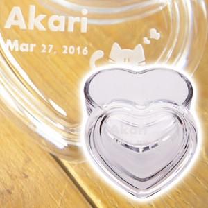 【名入れ ギフト プレゼント】小物入れ ケース 名入れハートガラス小物入れ お祝いギフト 結婚祝いや誕生日プレゼント
