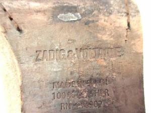 ザディグエヴォルテール ショートブーツ 39 レディース ベージュ×ライトブラウン 型押し加工 スエード×レザー【中古】