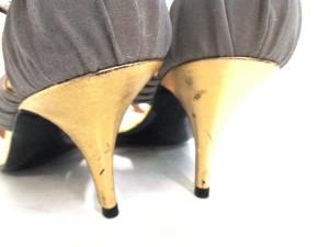 ピエールアルディ PIERRE HARDY サンダル 39 レディース 美品 グレー×ゴールド 化学繊維×レザー【中古】