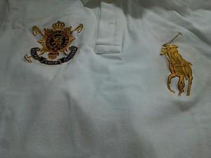 ポロラルフローレン POLObyRalphLauren 半袖ポロシャツ M メンズ 美品 ビッグポニー 白×ゴールド×マルチ【中古】