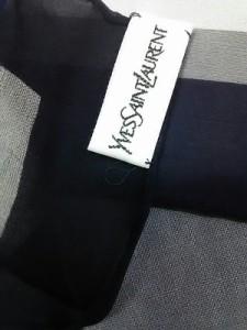 イヴサンローラン YvesSaintLaurent スカーフ 美品 レッド×ダークネイビー×マルチ 花柄【中古】