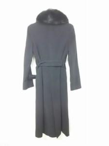イネド INED コート サイズ7 S レディース 美品 黒 フォックスファー/冬物【中古】