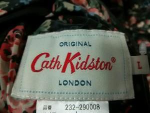 キャスキッドソン Cath Kidston ダウンコート サイズ【L】 レディース 黒×マルチ 花柄/リバーシブル【中古】