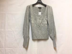 エポカ EPOCA 長袖セーター サイズ40 M レディース グレー×白 ビジュー/スパンコール【中古】