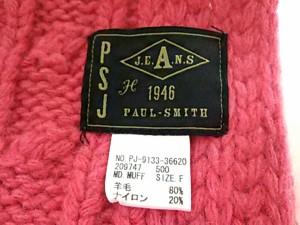 ポールスミスジーンズ PaulSmithJEANS マフラー F 美品 ピンク ウール×ナイロン【中古】