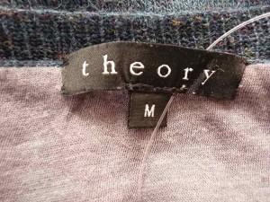 セオリー theory 長袖セーター サイズ【M】 レディース ダークグリーン×グレー Uネック/ポケット付き【中古】