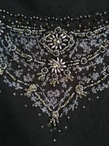 フランコフェラーロ FRANCO FERRARO 半袖セーター サイズ2 M レディース 美品 黒×グレー ビジュー【中古】