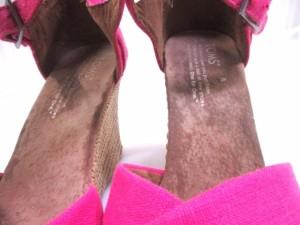 トムス TOMS サンダル 7 レディース ピンク×アイボリー ウェッジソール コットン×天然繊維【中古】