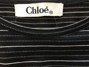 クロエ Chloe ワンピース サイズ40 M レディース 黒×オフホワイト ボーダー【中古】