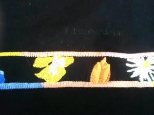 レオナール LEONARD 長袖セーター サイズ40 M レディース 黒×レッド×マルチ ハイネック/ビジュー/SPORT【中古】