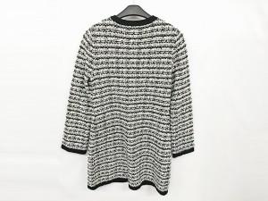 ナラカミーチェ NARACAMICIE カーディガン サイズ2 M レディース 白×黒 ロング丈/ツイード【中古】