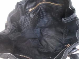プラダ PRADA トートバッグ ギャザーバッグ BN1747 黒 革タグ ナイロン×レザー【中古】