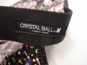 クリスタルボール CRYSTAL BALL ショルダーバッグ 黒×ピンク×マルチ コーティングキャンバス【中古】