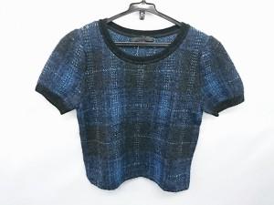 アナイ ANAYI 半袖セーター サイズ36 S レディース 新品同様 ネイビー×黒 ラメ/チェック柄【中古】