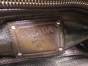 プラダ PRADA ハンドバッグ - ダークブラウン 革タグ レザー【中古】