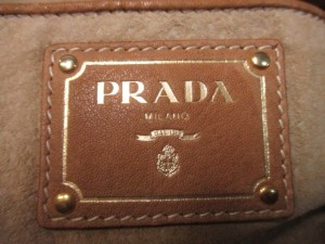 プラダ PRADA ショルダーバッグ - 2AEZ ネイビー×白×ゴールド 革タグ/チェーンショルダー/ツイード コットン【中古】