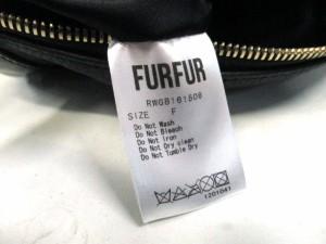 ファーファー furfur ワンショルダーバッグ 黒×カーキ ウサギ 合皮×フェイクファー【中古】
