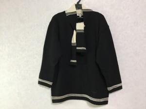クレージュ COURREGES 七分袖セーター サイズ9R レディース 黒×アイボリー ハート【中古】