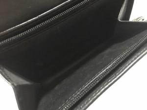 コーチ COACH 2つ折り財布 ミニシグネチャー柄 黒 ジャガード×レザー【中古】