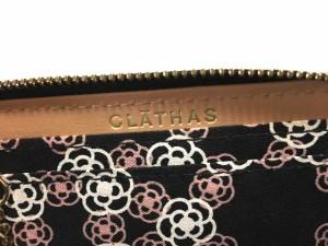 クレイサス CLATHAS コインケース 黒×ゴールド 型押し加工/ラウンドファスナー/ラインストーン エナメル(レザー)【中古】