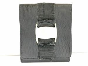 サルバトーレフェラガモ SalvatoreFerragamo Wホック財布 ヴァラ 黒×ゴールド 型押し加工 レザー【中古】