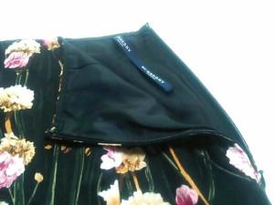 バーバリーロンドン Burberry LONDON ロングスカート サイズ36 M レディース 新品同様 黒×マルチ 花柄【中古】