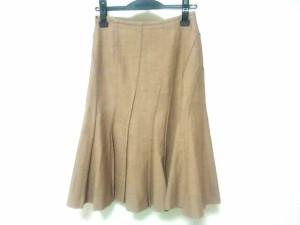 エポカ EPOCA スカート サイズ38 M レディース 美品 ベージュ×ダークブラウン プリーツ/ヘリンボーン【中古】
