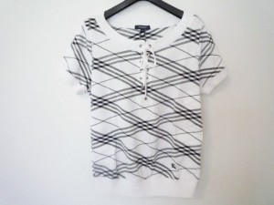 バーバリーロンドン Burberry LONDON 半袖セーター サイズ26 S レディース 美品 白×黒 チェック柄【中古】