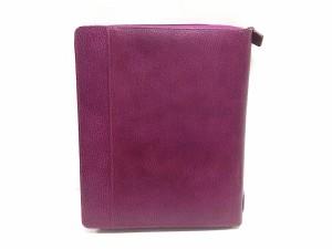 ファイロファックス Filofax 手帳 美品 FINSBURY ピンクパープル iPadケース付きA5システム手帳 レザー【中古】