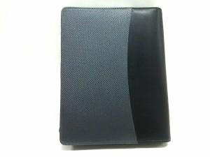 ファイロファックス Filofax 手帳 美品 黒×ダークグレー A5/ラウンドファスナー 化学繊維×レザー【中古】