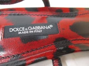 ドルチェアンドガッバーナ DOLCE&GABBANA サンダル 36 1/2 レディース レッド×黒 豹柄 エナメル(レザー)【中古】