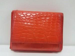 フルラ FURLA 3つ折り財布 レッド 型押し加工 レザー【中古】