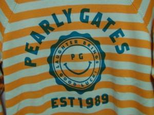 パーリーゲイツ PEARLY GATES 長袖セーター サイズ1 S レディース 美品 オレンジ×ライトグリーン×グリーン ボーダー【中古】