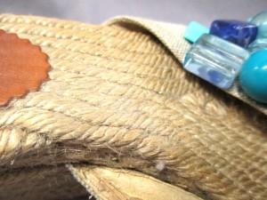 カスタニエール サンダル レディース ライトブラウン×ライトブルー ウェッジソール/ビーズ 天然繊維×コットン×プラスチック【中古】