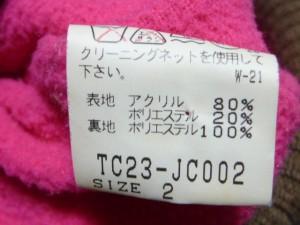 ツモリチサト TSUMORI CHISATO ブルゾン サイズ2 M レディース ダークブラウン×ベージュ フェイクファー/冬物/ジップアップ【中古】