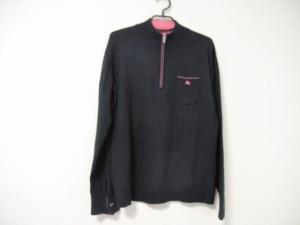 バーバリーブラックレーベル Burberry Black Label 長袖セーター サイズ3 L メンズ 黒×ピンク【中古】