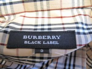バーバリーブラックレーベル Burberry Black Label 長袖シャツ サイズ3 L メンズ ベージュ×黒×白 チェック柄 綿【中古】