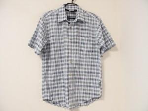 コロンビア columbia 半袖シャツ サイズS メンズ 白×ライトグリーン×ライトブルー チェック柄【中古】