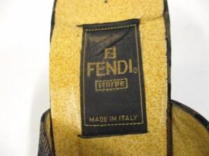 フェンディ FENDI ミュール 8 レディース ブラウン×ダークブラウン オープントゥ ジャガード【中古】