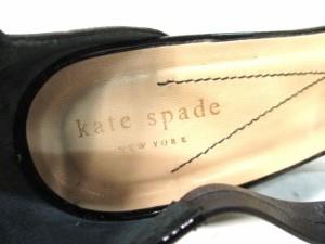 ケイトスペード Kate spade パンプス 7 1/2 レディース 黒 ウェッジソール エナメル(レザー)×レザー【中古】