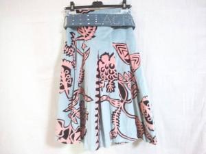 クリスチャンラクロワ Christian Lacroix スカート サイズ38 M レディース ライトブルー×ベージュ×マルチ ベロア【中古】