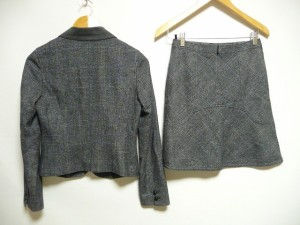 インディビ INDIVI スカートスーツ サイズ38 M レディース 美品 黒×マルチ 冬物/チェック柄【中古】