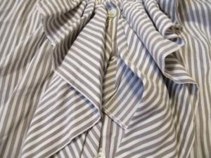 サクラ SACRA ノースリーブシャツブラウス サイズ38 M レディース 美品 アイボリー×ブラウン フリル/ストライプ【中古】