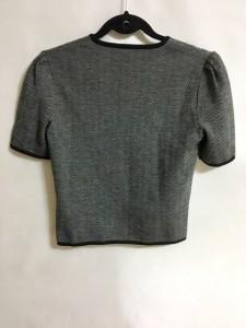 セリーヌ CELINE 半袖セーター サイズM レディース 美品 黒×グレー ヘリンボーン【中古】